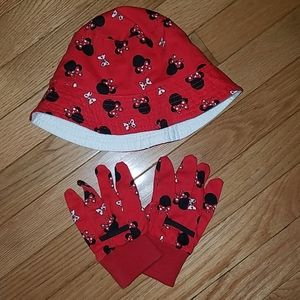 Minnie Mouse gardening hat and gloves set